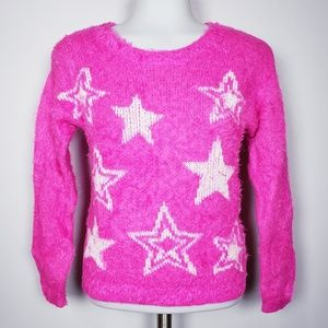 Juicy Couture hot pink fuzzy eyelash star sweater